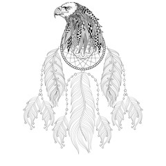 Hand drawn zentangle Dreamcatcher with Eagle head for adult colo