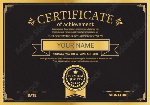 Gold Medal Certificate Template Vector Illustration Design Eps