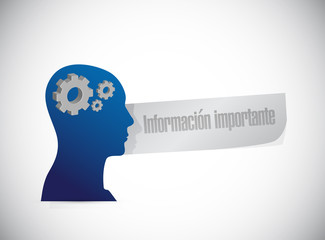 important information thinking brain Spanish sign