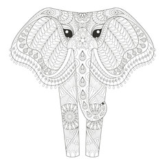 Zentangle Ornamental Elephant for adult coloring pages, Hand dra