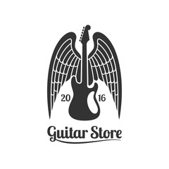 Guitar store vector template logo