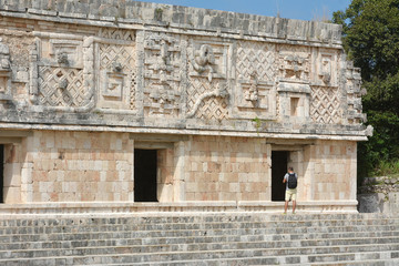 Man see of the nunnery building in Uxmal. Mexico.