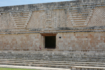 Architectural details of the nunnery building in Uxmal.  Mexico.