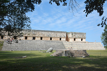 Jaguar throne and Governor's Palace in the foreground. Uxmal, Yu