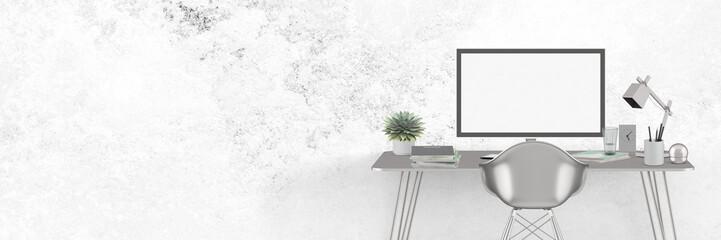 Moderner Arbeitsplatz - silber / grau - Textfreiraum - Banner