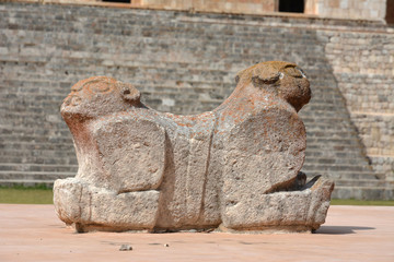 Jaguar throne øò Mayan site Uxmal, Yucatan Peninsula, Mexico.