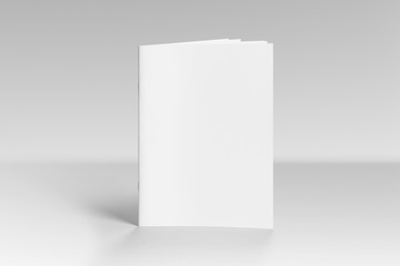 Blank A4 Photorealistic Brochure Mockup On Light Grey Background.  Blank Brochure