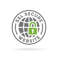 Secure SSL website icon. Globe with padlock sign. Secure globe symbol. Grey globe with green padlock emblem on white background. Vector illustration.