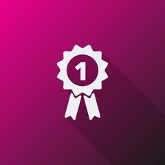 White Prize Ribbon icon on pink background