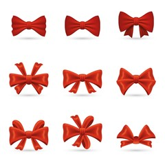 Set of realistic redbows