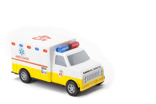 miniature ambulance on white background