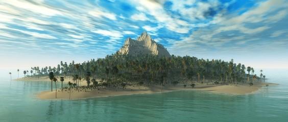 tropical island in the ocean, seascape, panorama,