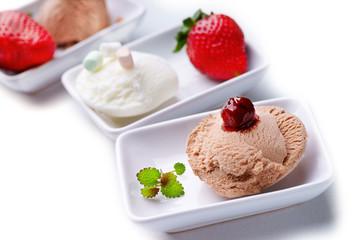 Three ice cream sundaes
