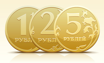 Vector metallic Russian coin ruble