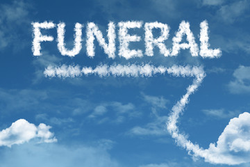 Funeral cloud word with a blue sky