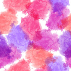 Seamless watercolor splashes pattern. Aquarelle pink and purple shades, looks like candyfloss clouds, on white background. Abstract texture. Textile print. Wallpaper.