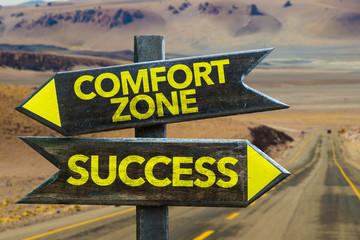Comfort Zone - Success crossroad in a desert background