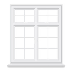 Traditional white window isolated on white background. Closed realistic vector window element of architecture and interior design.