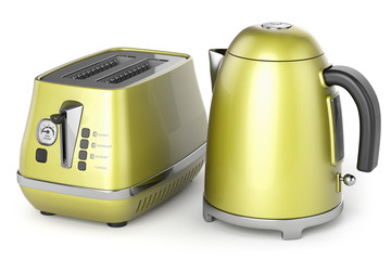 electric kettle and toaster 3d