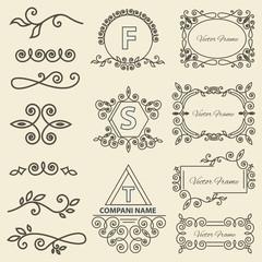Set Logos, framework, individual ornament elements linear monogram