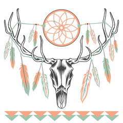 Ethnic deer skull Dreamcatcher feathers