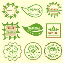 Organic products emblem, quality mark, logo