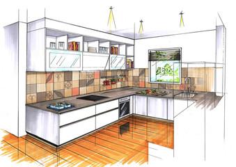 Photos illustrations et vid os de croquis for Cuisine en perspective