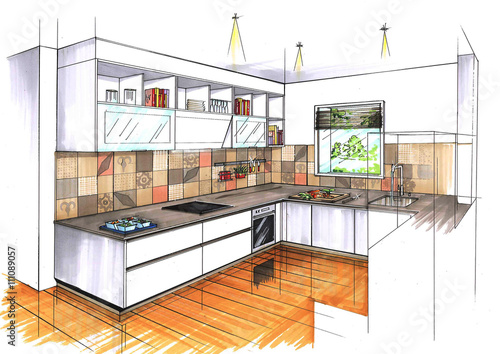 Croquis cuisine contemporaine perspective couleur photo for Couleur cuisine contemporaine