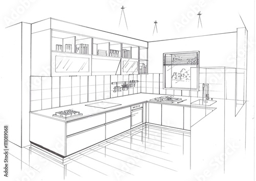 Croquis cuisine contemporaine perspective photo libre de - Perspective cuisine dessin ...