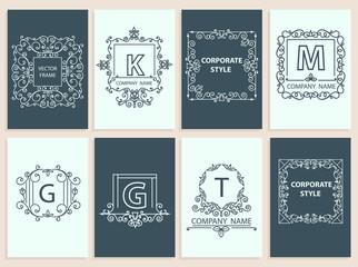 Set cards, ornamental logo, frame monogram