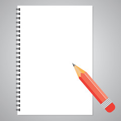 Vector open notepad with pencil  icon.