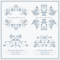 Set elements flower, logos Baroque style