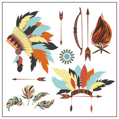 Set ethnic style arrows, feathers,bow, war bonnet, fire