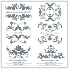 Set of decorative floral ornaments in victorian style