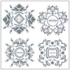 Set  decorative floral ornament logo