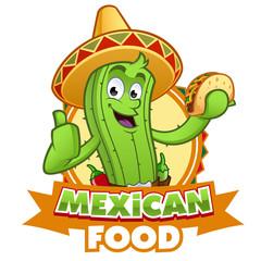 Cactus con un taco mexicano en la mano