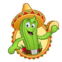 Cactus con un taco mejicano en la mano
