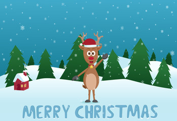 Happy Christmas Deer With Snow and Pine Tress