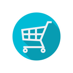 Shopping cart icon or sign isolated on white background. Flat design. Vector illustration.
