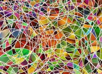 many tangled lines on multicolored backgrounds