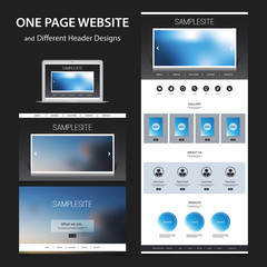 One Page Website Design Template for Your Business with Blurred Backgrounds