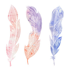 Set of hand drawn feathers with boho pattern and watercolor background. Tribal doodle elements. Vector element for your creativity.