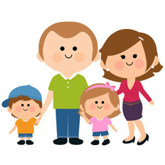 Vector illustration of a happy family: Two parents and their children, a girl and a boy.