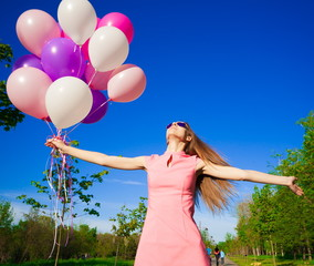 Woman balloons, close up, forest