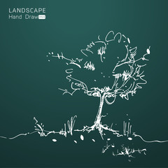Natural landscape in Hand drawn style