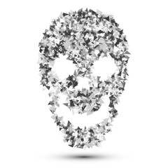 Skull vector.Skull from particles.Abstract skull illustration isolated on white.