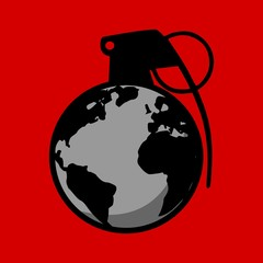 Terror And War Sign - Planet Earth as a Hand Grenade Vector Illustration