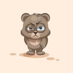 isolated Emoji character cartoon Bear sticker emoticon with angry emotion