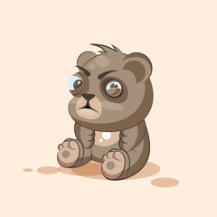 isolated Emoji character cartoon Bear squints and looks suspiciously sticker emoticon