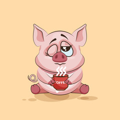 isolated Emoji character cartoon Pig just woke up with cup of coffee sticker emoticon